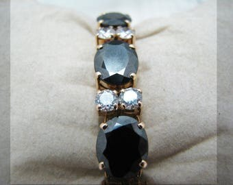 Stunning Black Stone and CZ Bracelet in 14k Yellow Gold