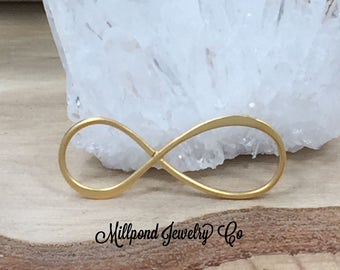 Infinity Link, Infinity Connector, Infinity Charm, Infinity Pendant, Gold Plated Sterling Silver Infinity, Eternity Link, Larger Size