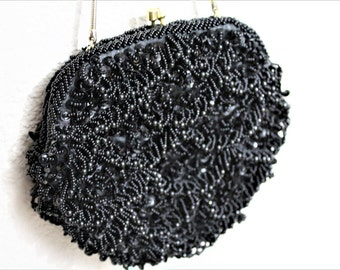 Vintage 1950's WEINSTOCKS Black Beaded Fringe Gold Metal Hinge Handbag Purse Evening Hong Kong