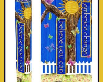"Embrace Change Butterfly Garden Peace Pole with Solar Light 64"""