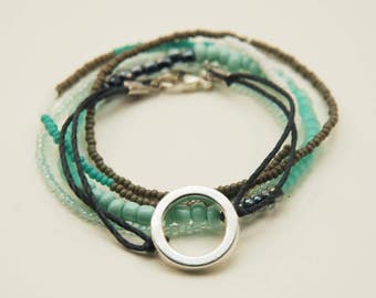 Aqua and Gray Bracelet Bunch