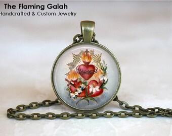 SACRED HEART Pendant • Sacre Coeur • Flaming Heart • Jesus Christ • Religious • Gift Under 20 • Made in Australia (P1304)