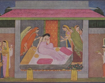 Usha's Dream ... Indian Miniature Painting printed reproduction, 1979