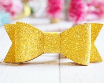 Yellow Glitter Bow | Hair Clip
