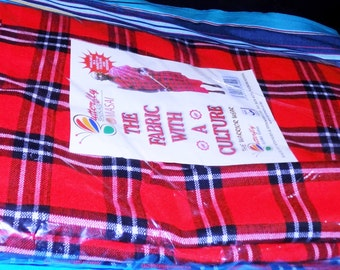 Original Kenya Maasai/Masai Multi-colored Shuka blanket- Masai/Maasai shuka (blanket) - Red+White+Black