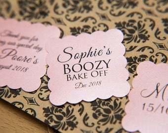 "200 Baby Pink Pearlised 1.5 inch Square Shiny Stickers, Envelope Seals. Custom Pink Stickers. 1.5"" Save the date stickers. Invitation Seals."