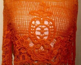 Vintage Crochet Lace Orange Crop Top