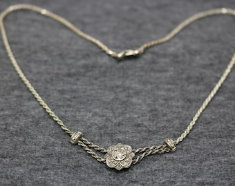 Sterling Silver Vintage Necklace with Antic Coin Shape Pendant