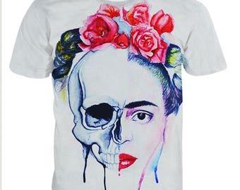 "Hand Paint T-shirt""Skull and Roses"",acrylic painting,handmade,women and men,gift,decor,design"