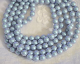25 ~ Iridescent Light Blue 8MM 5810 Swarovski Crystal Beads Pearls