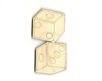 Dice - Laser Cut Out Unfinished Wood Shape Craft Supply TOY4