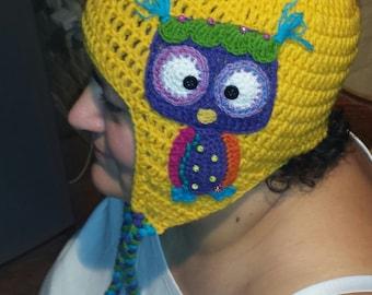 crochet owl hat, owl hat,owl,crochet owl