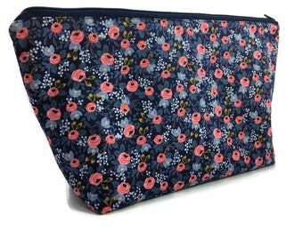 Extra Large Cosmetic Bag - Toiletry Bag - Travel Bag - Makeup Bag - Wet Bag - Accessory Pouch - Rifle Paper Co - in Navy Rosa