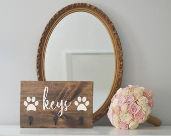 Keys Double Paw Key Holder and Dog Leash Holder, Entryway Organizer, Key Organizer, Wedding Gift, Housewarming Gift, Key Hooks, Leash Holder