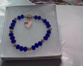 Patriotic Bracelet with Flag Heart Charm