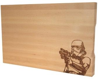 10x16 Maple Butcher Block Star Wars Storm Trooper Cutting Board