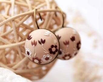 Hand embroidered earrings, Beige earrings, champagne earrings, romantic earrings, bridesmaid gift, drop earrings, polymer clay, gift for her