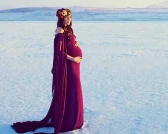CLAIRE Chiffon Cape Maternity Gown, Chiffon Dress, Off Shoulders, Maternity Dress, Baby shower dress, Magenta