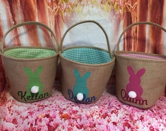 Burlap Easter Basket. Personalized Easter Egg Hunt Pale. Easter Baskets Professional Vinyl Pressing.