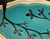 Turquoise Oval Serving Dish with Plant Designs for Shannon