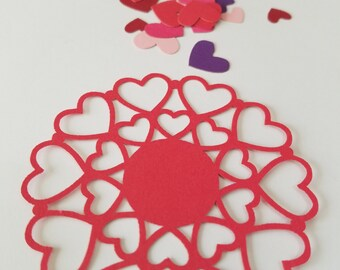 Valentines Day Doily Style Heart Die Cut Outs ( Gift Tags, Scrap Booking, Embellishments )