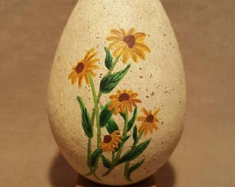 Hand Painted Wood Egg, Wooden, Sunflowers, Flowers, Stand, Display, Decor, Orange, Yellow, Green, Brown