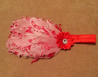 Pink And Red Feather Band, Feather Stretchband, Red & White Headband, Valentine Curly Band, Feather Headband, Baby Shower Gift