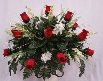 Cemetery Saddle Roses Deep Red Edged In Black, Lilacs White, Bellflowers Cream, Foam Filler Cream and Fern Green Silk.