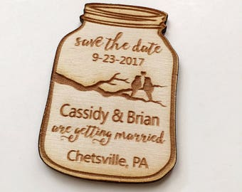 50 Mason Jar Save the Date Engraved Magnets - engraved in wood