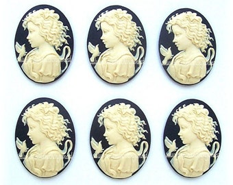 6 Ivory color on Black Young Girl Goddess with Dove 25mm x 18mm Resin CAMEOS Lot for Making Costume Jewelry