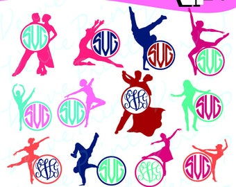 Dancer Monogram Frames Svg, Ballerina Svg, Ai, Eps, Pdf, Png Cutting file, Silhouette Clip Art svg Commercial use