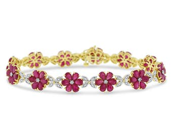 13.08 Ct. Natural Ruby & Diamond Flower Leaf Bracelet In Solid 18k Yellow Gold