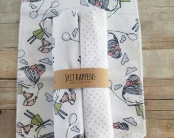 Burp Cloth, double sided flannel burp cloth, baby girl burp cloth, -(set of 2) girl with fox