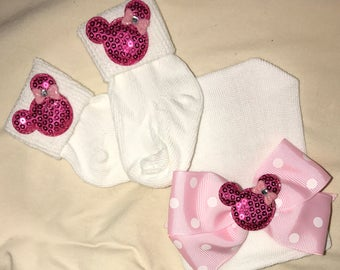 Mouse Newborn White Baby Hat Newborn Beanie Hospital Hat Pink Polka Dot Ribbon with Mouse and Matching Mouse Socks! Cute!