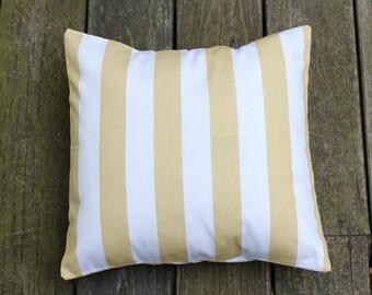 Mustard Yellow and White Beach Stripe Pillow Cover- Mustard Yellow and White Decorative Couch Pillow 16x16- Ready to Ship