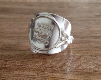Handmade Sterling Silver Vintage Cutlery - Canadian  Spoon Ring, Vintage Ring, Cutlery Ring, Up-cycled Ring, Sterling Silver Spoon Ring