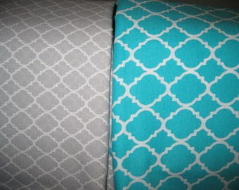 100 percent cotton quatrefoil fabric/gray/aqua/white/quilting/crafts/apparel