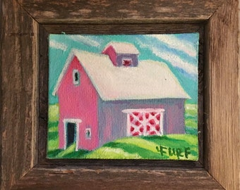 Berry Pink Barn Little, Small Framed Oil on Canvas