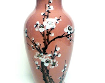 Japanese vase cherry blossom tree vase pink vase porcelain vase cherry blossoms Japanese décor flower vase tall vase flowers