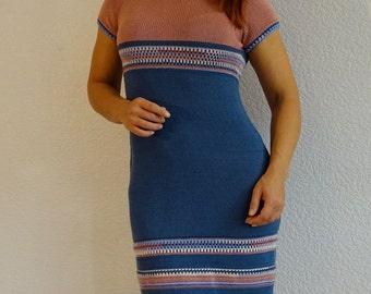knitted dress, crochet dress, elegant dress, fitting dress, summer dress, knitdress, knitwear dress, blue, dusty rose, ready to ship
