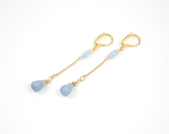 DROPS - Aqua Chalcedony and Gold filled Long Earrings and Gems Stones