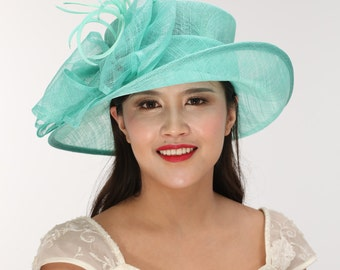 Turquoise Kentucky Derby Hat, Church Hat, Wedding Hat, Easter Hat, Tea Party Hat Wide Brim Woman's Sinamay  Hat