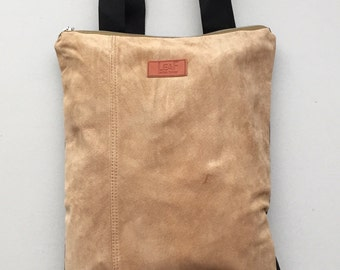 SALE Camel leather bag   Convertible backpack purse   Cocoa backpack   Suede backpack purse   Leather backpack   Shoulder bag and purse
