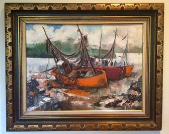 Awesome Mid Century Modern Orange Boats/Ships in Harbor Large oil on canvas board painting