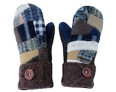 RESERVED LISTING for Laura - Patchwork Sweater Mittens, Wool Mittens, Women's Mittens Sweaty Mitts Fleece Lined Recycled Mittens Ecofriendly