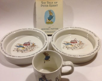 Pair of Vintage Peter Rabbit by Beatrix Potter Wedgewood Bowls and 1 small Cup