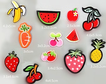 Wholesale bulk lot  120pcs  mini  fruit collection banana  apple strawberry   cherry   carrot ,pinapple embroidered iron on patch