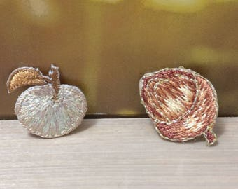 Bulk Lot   20pcs golden fruit  embroidered iron on patch about 2cm
