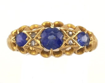 Gold Sapphire Diamond Ring yellow Gold 3 Stone  O (UK) or 7.5 (US) Engagement Ring j558