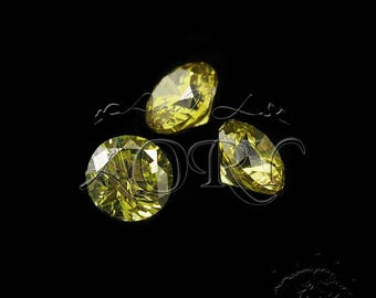 10pcs AAAAA 3mm Olive Cubic Zirconia, Round Shape, Faceted CZ, Brilliant/Diamond Cut, Olive Green Cubic Zirconia, SA11R